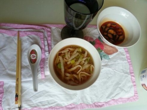 Udon style tallarimis in miso soup