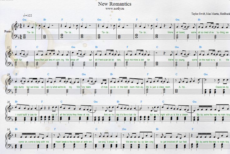Taylor swift new romantics piano sheets from 1989 album my