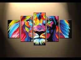 Resultado de imagen para pinturas de leones de colores