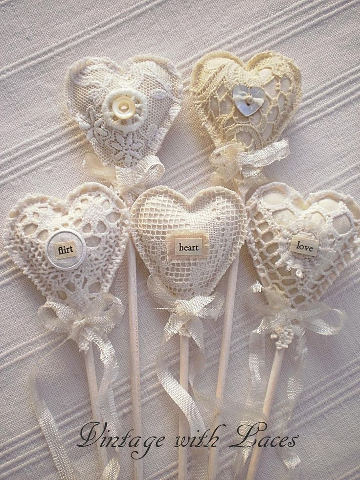 Fabric and Lace Heart Picks