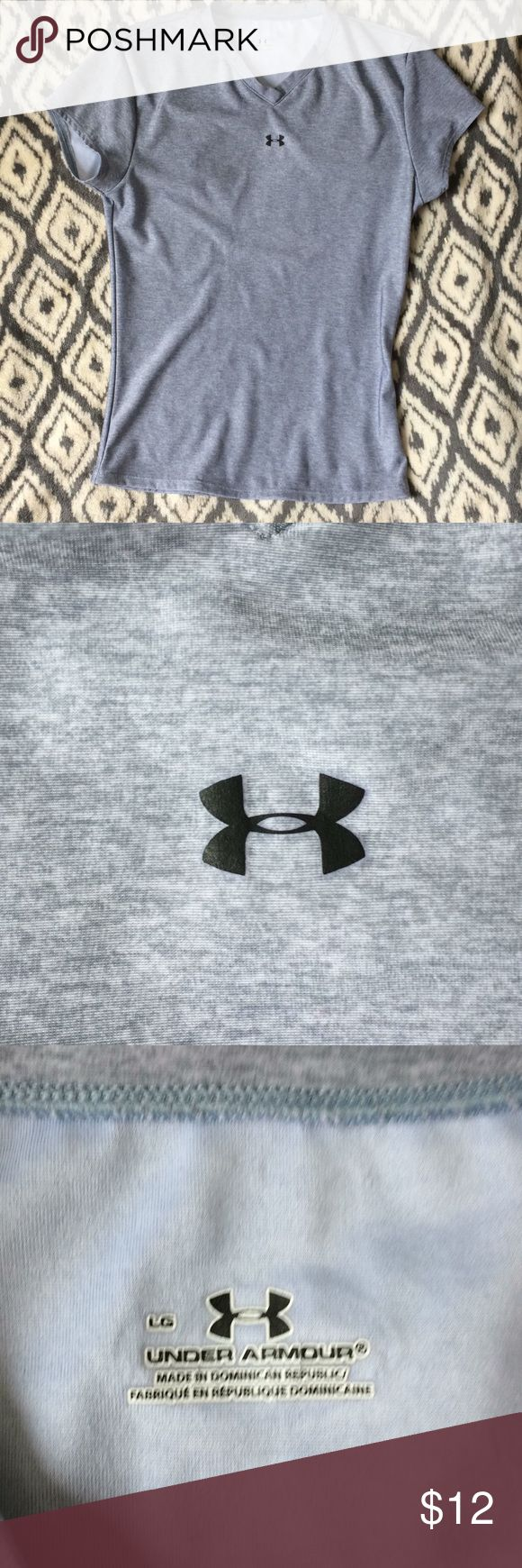 Large under armour T-shirt Gray Heathered gray under armour T-shirt  No rips or stains   Slight piling on the front   Feel free to ask any questions! Under Armour Tops Tees - Short Sleeve