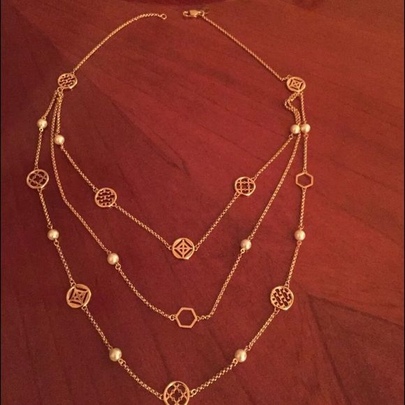 """TORY BURCH Multi Strand Logo Necklace Tory Burch Multi Strand Logo Charm Necklace Pearl & Gold. Length 24"""", new with tags & pouch. Tory Burch Jewelry Necklaces"""