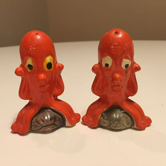 Funny Orange Octopus Salt and Pepper Shakers by TheTeaberryCottage