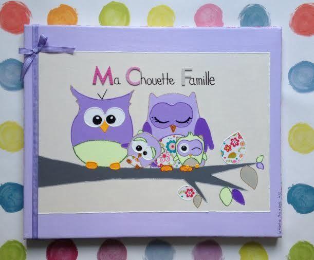 Tableau Déco Rigolo Chambre d'Enfant Famille Chouette Hibou Violet : Décoration pour enfants par la-fabrik-de-mina-leelo