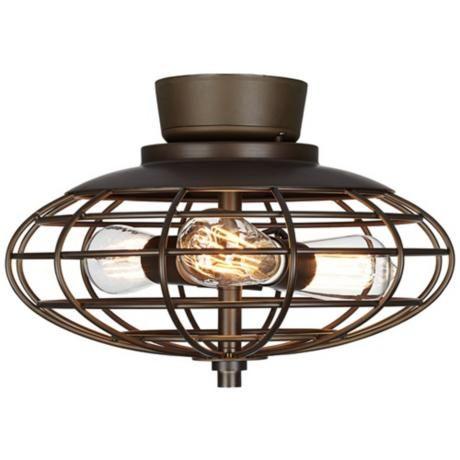 Oil-Rubbed Bronze Industrial Cage 3-40 Watt Ceiling Fan Light Kit - for