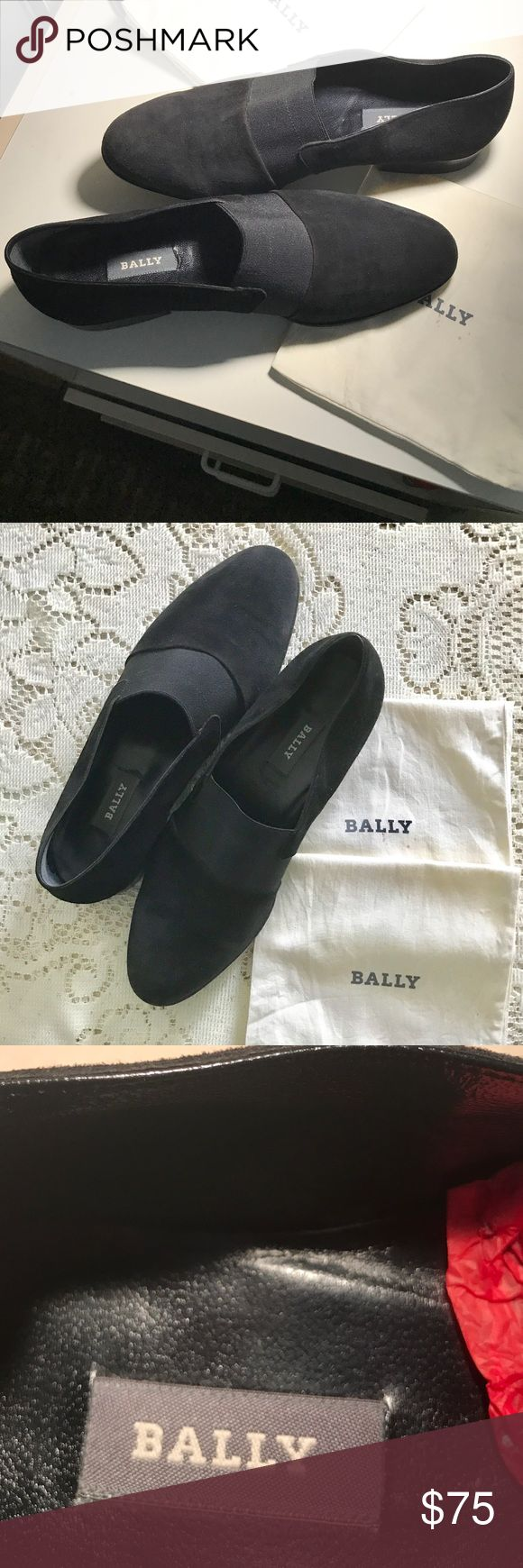 Bally suede tuxedo shoes for men Pre-owned excellent condition used for one event. Jet black, light wear on soles. Suede with a stretchy band across top. No box, but 2 dust bags are included Bally Shoes Loafers & Slip-Ons