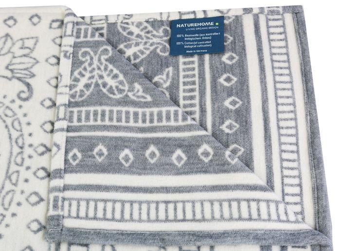 Wohndecke Jacquard 100% Baumwolle (kbA) Modell NOAH 140 x 200 cm Made in Germany | NATUREHOME