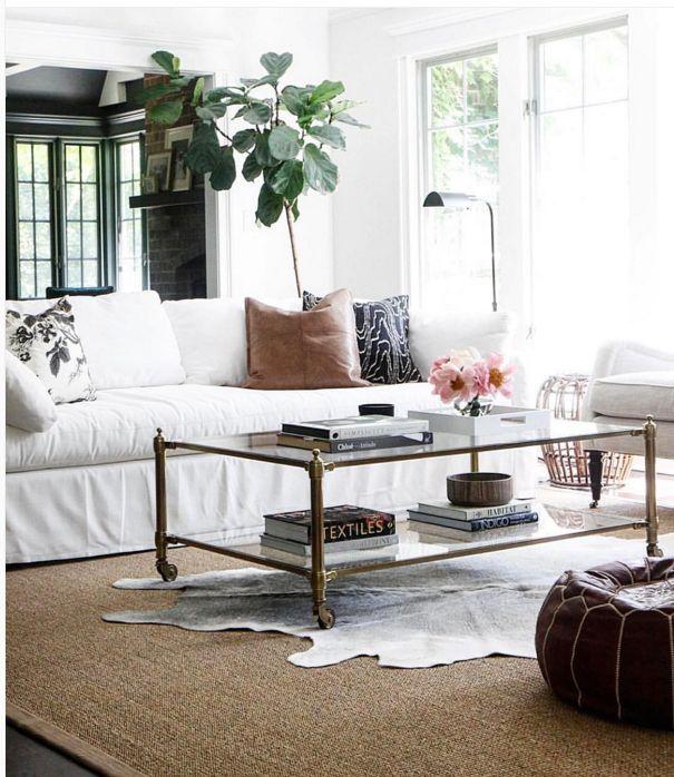 family room, white slip covered sofa, cow skin rug, fiddlehead plant