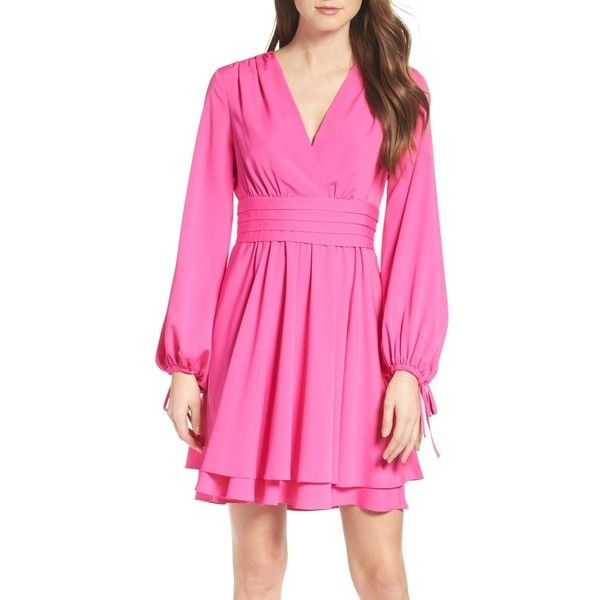 Women's Eliza J Tie Sleeve Fit & Flare Dress ($148) ❤ liked on Polyvore featuring dresses, fuchsia, fuchsia pink dress, sleeved dresses, fuschia pink dress, pink fit-and-flare dresses and pink dress