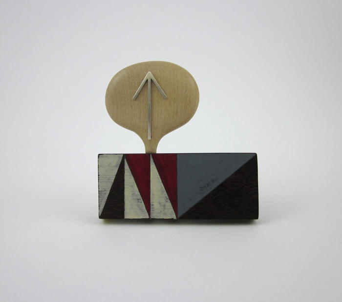 Katy Hackney - Brooch with bubble and arrow  rose wood, pear wood, metal-The Scottish Gallery
