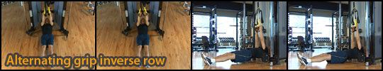 Alternating grip inverse row (low/upper back, rotator cuff, postier deltoids, biceps and forearms)