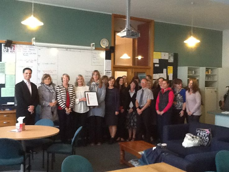St Oran's College, Lower Hutt, receiving their Investors in People Bronze Reaccrediation award from IIPNZ Managing Director, Stuart Burgess.