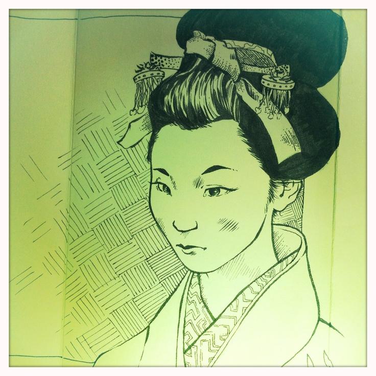Sketch of japanese Geisha