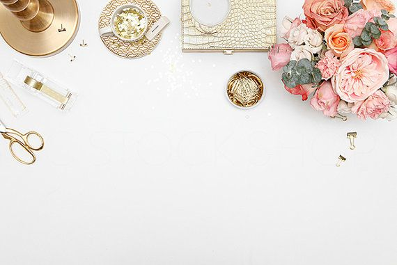Gold and pink styled desktop | Styled product photography background stock photograph | High Res Download