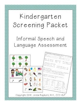 Kindergarten Screening Packet: Speech and Language Screener. Repinned by SOS Inc. Resources pinterest.com/sostherapy/.