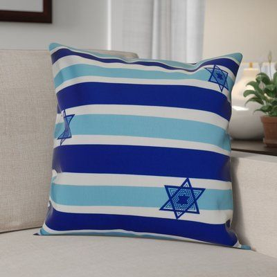 "The Holiday Aisle Hanukkah 2016 Decorative Holiday Striped Outdoor Throw Pillow Size: 16"" H x 16"" W x 2"" D, Color: Light Blue #outdoorholidaydecorations"