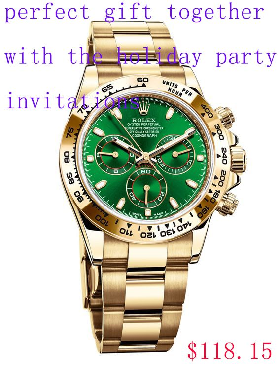 Holiday party invitations with replica Rolex Daytona watch 116508