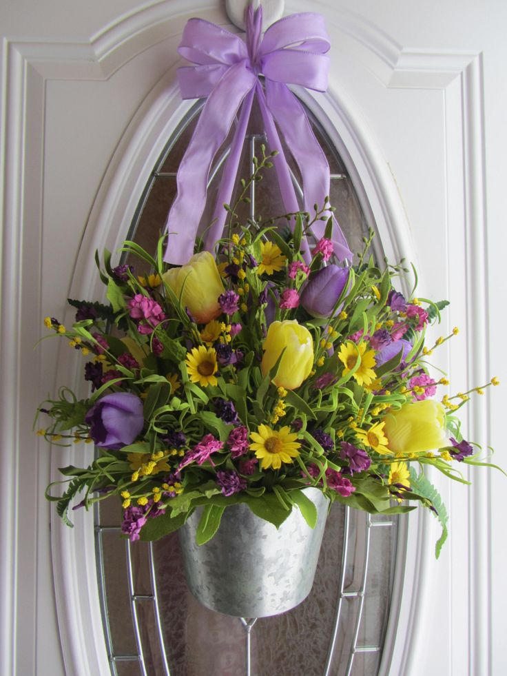 Spring Wreath Easter Wreath Tulip Wreath by DoorWreathsByDesign