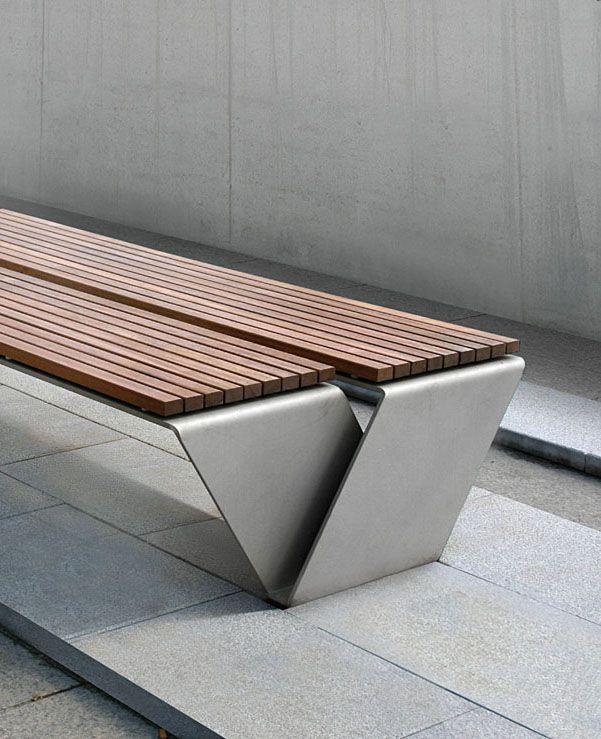 Wood Metal Bent Over Structure Stool Bench Urban Furniture