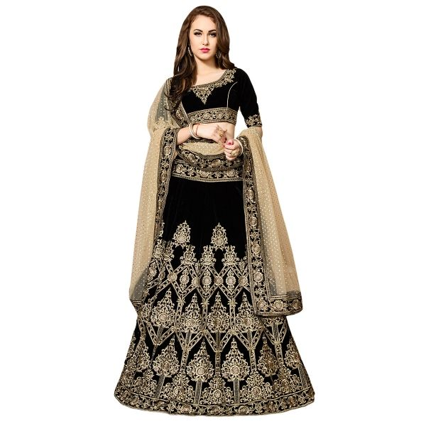 Buy Flattering Embroidered With Resham Work Black Velvet Lehenga Choli Online at cheap prices from Shopkio.com: India`s best online shoping site
