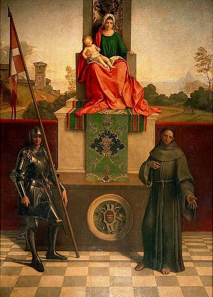 Description       Castelfranco Madonna, Madonna and Child between Nicasius of Sicily(maybe Liberalis of Treviso) and St. Francis         Source       Cathedral of Castelfranco Veneto         Date       c. 1503         Author       Giorgione