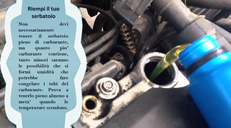 Carburante  Guidare a corto di carburante può essere dannoso per il tuo veicolo con il tempo freddo. Mantenere un serbatoio pieno diminuisce il rischio di congelamento di qualsiasi conduttura. Il portabagagli del veicolo dovrebbe includere anche un kit invernale con al minimo una pala, placche adesive, cavi di connessione, una coperta termica ed una torcia elettrica che potrebbe essere essenziale in una situazione di emergenza.  #pneumaticiallweather