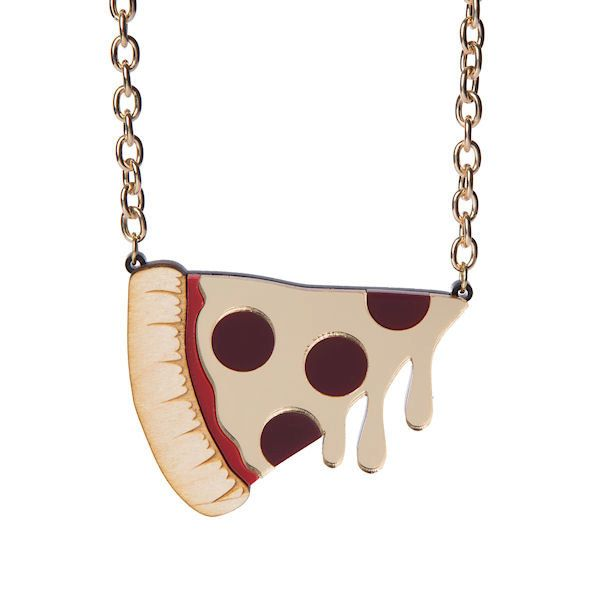 XL Pizza necklace - laser cut acrylic (20.00 GBP) by sugarandvicedesigns