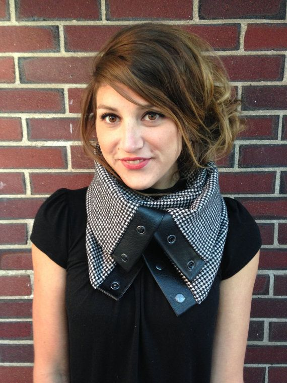 Black and White Houndstooth Cowl-Neck Scarf, www.etsy.com/shop/TheCorkandStitch