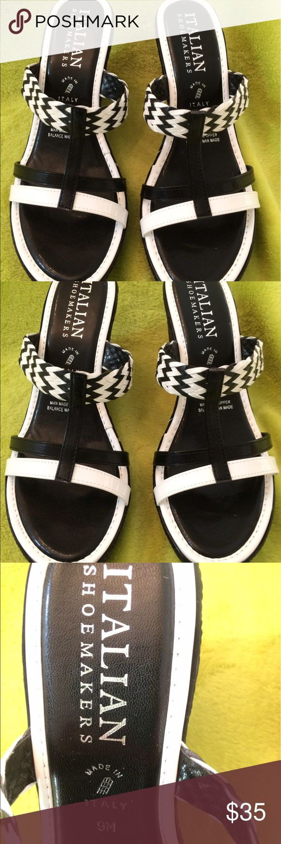 "Black and White Strappy wedge sandal Italian Shoemaker leather upper. Black and white in color. 4"" wedge. Faux weave look. NEVER worn Italian Shoemakers Shoes Espadrilles"