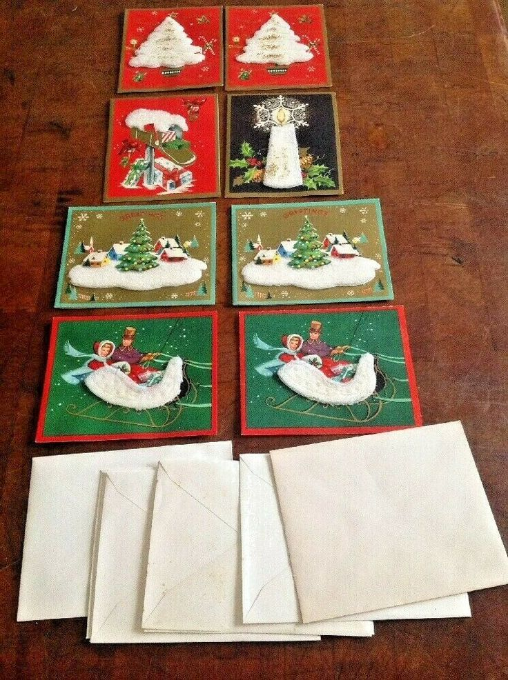 Details about 8 Vintage Made USA 3D Christmas Cards Couple