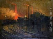The Steelworks, Cardiff at Night, 1893-97  by Lionel Walden