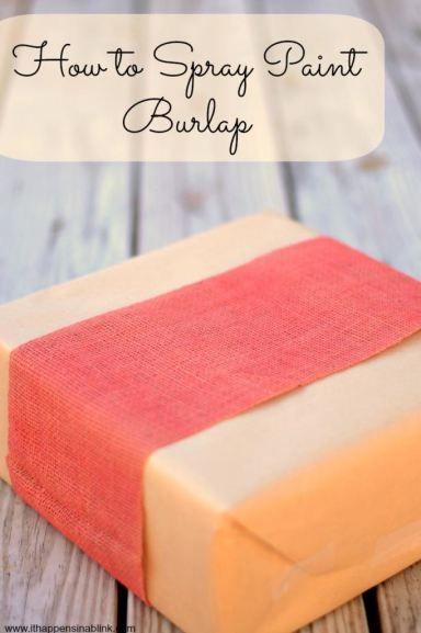 Home Idea - How to Spray Paint Burlap - easy tutorial