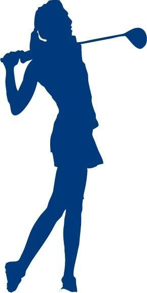 Female Golfer Swinging a Golf Club vinyl car decal sticker A silhouette image of a female golfer after driving a golf ball down the fairway.  This is a one-col