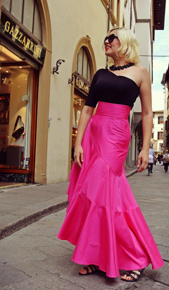 Extravagant Fuchsia Skirt / Fabulous Cotton Skirt / by Teyxo