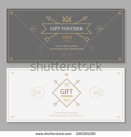 Gift Voucher Template With Hipster Design Line Art