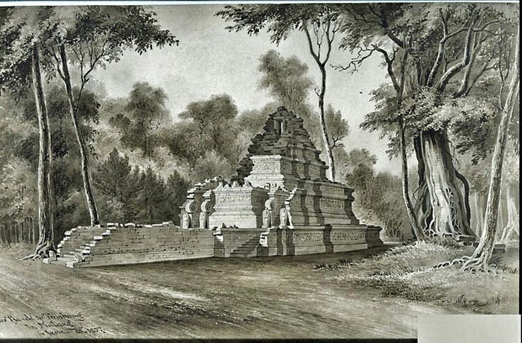 Litho : Het heiligdom Candi Tumpang bij Malang 1857.