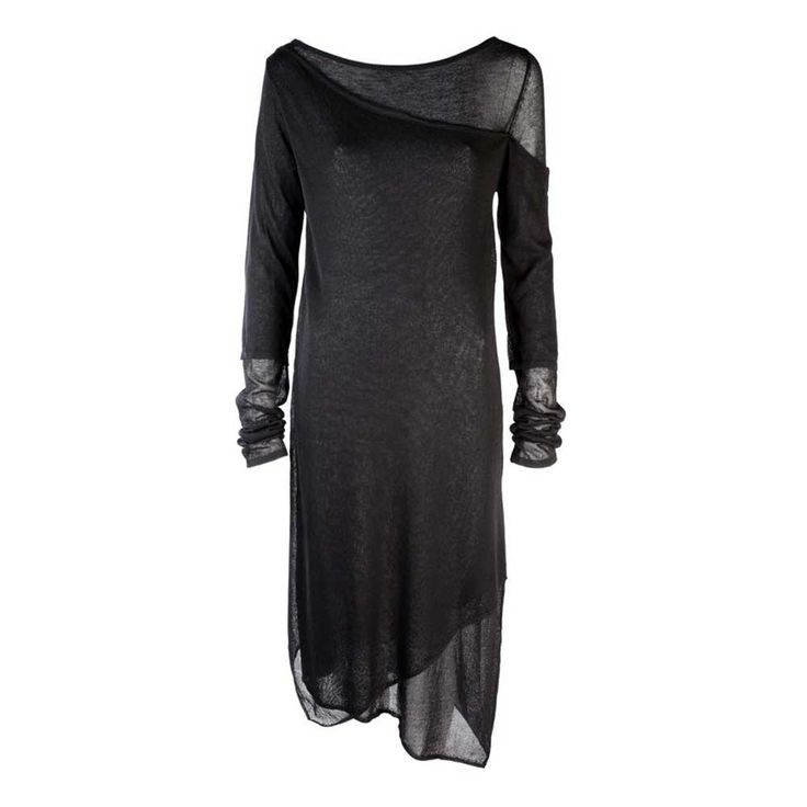Sheer gelaagde asymmetrische jurk zwart - Gothic Metal