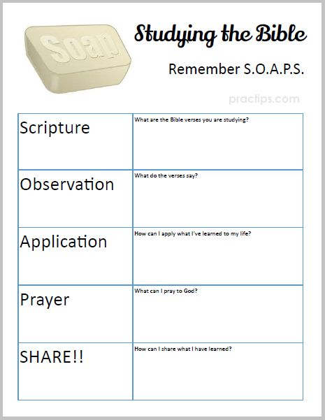 practips new printable bible study soaps very useful tool when studying the bible enjoy. Black Bedroom Furniture Sets. Home Design Ideas