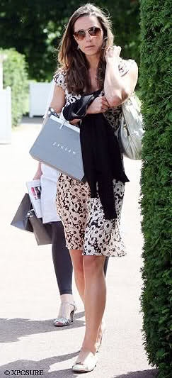 """Kate Middleton after Shopping. """"Jada"""" Snaffle Flats (L.K. Bennett ) + Pansy Floral Dress (Jigsaw) > http://www.katesclothes.com/clothing-type/"""
