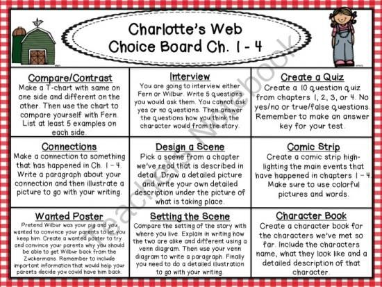 Charlottes Web Reading Choice Boards from The Carefree Classroom on TeachersNotebook.com -  (9 pages)  - Charlotte's Web Reading Choice Boards