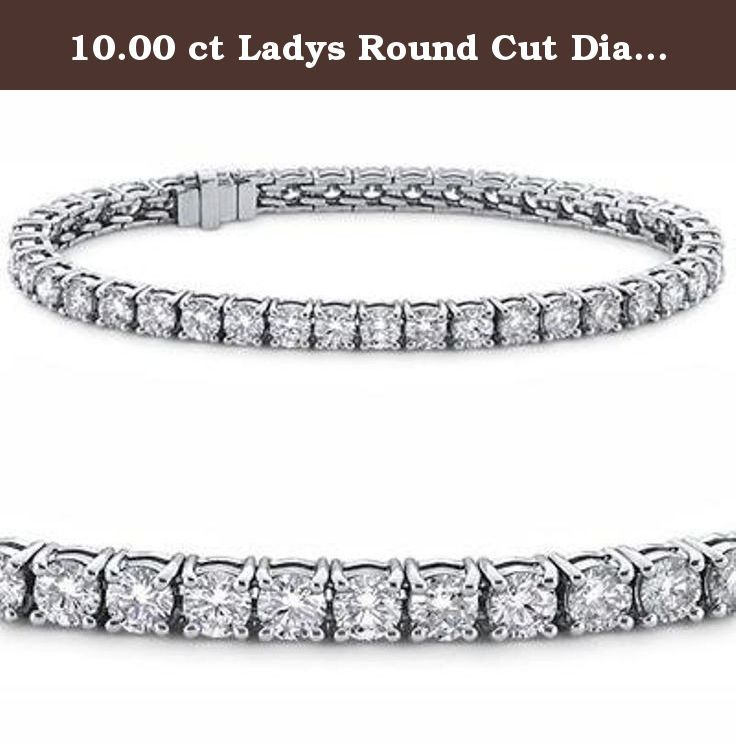 10.00 ct Ladys Round Cut Diamond Tennis Bracelet In 14 Karat White Gold. Whether it's an anniversary gift or birthday present diamond tennis bracelets are the perfect choice for your special lady. Here we have a gorgeous diamond tennis bracelet with a tremendous total weight of 6.00 carats; all of these sparkling diamonds have top white G color and superb SI-1 clarity. Every stone in this bracelet is handpicked for ideal cut and exemplary shine so each diamond on this bracelet matches…
