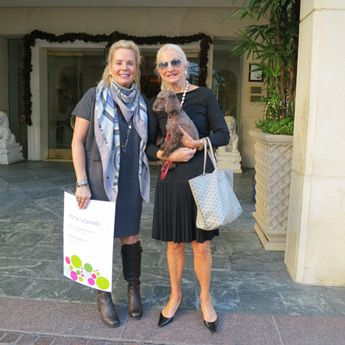 Here's @Maze Home owner Cindy Bardes Galvin and her step-mom, author Cynthia Bardes with the real Pansy! @PansythePoodle #kidsbooks #poodle #mystery