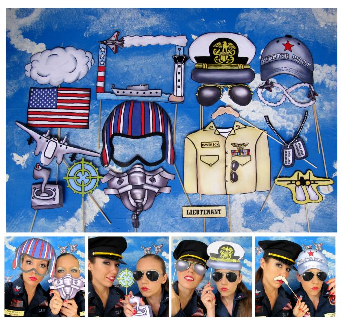 "Top Gun"" inspired Fighter Pilot/Navy photo booth props – perfect for your movie themed party or navy themed bash"