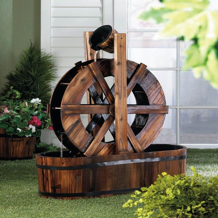 Spinning Wood Outdoor Water Mill Fountain - P&J Home and Garden Decor  - 1