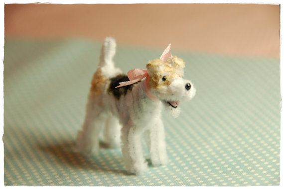 Pipe Cleaner  wire fox terrier Pink ribbon by maruton on Etsy