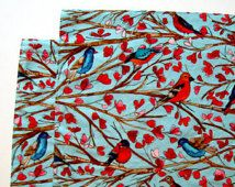 Großes Tuch Tischsets - Set 2 - rot-Türkis-Vögel - umschaltbar