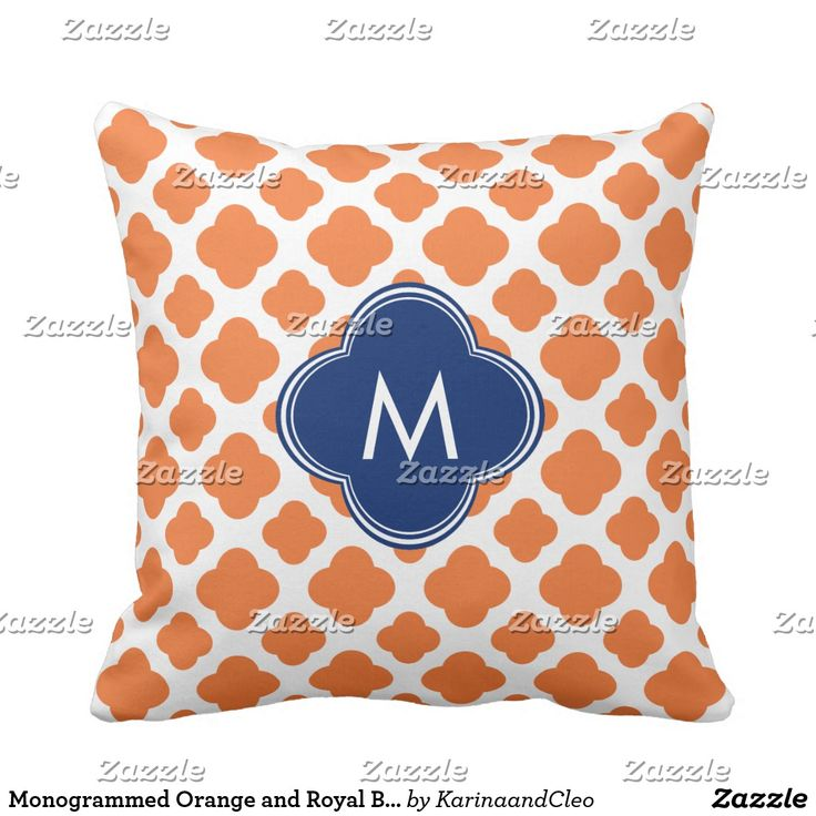 Monogrammed Orange and Royal Blue Quatrefoil Throw Pillow Blue, Quatrefoil and Royal blue