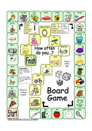 With this board game, learners will practise using frequency adverbs and expressions (Present simple) in an enjoyable way. Every square provides a picture clue (or some words). Every time a correct answer is given, the game can be used as a communicative activity whereby players ask each follow-up questions. Let´s make learning fun!  - ESL worksheets