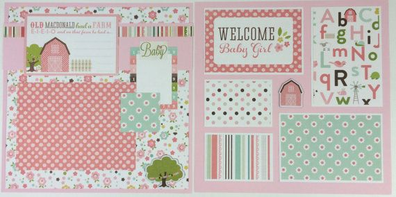 Baby Girl Scrapbook Page Kit or Premade Pre-Cut with Instructions Six Pages 12x12 Scrapbook This is a pre-cut Do-it-yourself scrapbook kit that includes all of the materials to make six 12x12 scrapbook pages. (Also available pre-made) The theme is perfect for newborn pictures, a baby shower, or other baby girl photos. Pre made: If you order the pages pre-made -- they will be delivered complete, ready for your photos, and can easily slide into a 12x12 scrapbook album. Do-It-Yourself Kit: A…