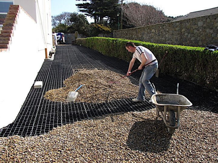 Car Park surfacing grids being laid for a gravel driveway http://www.gridforce.co.uk/ground-reinforcement-uses/driveways.html
